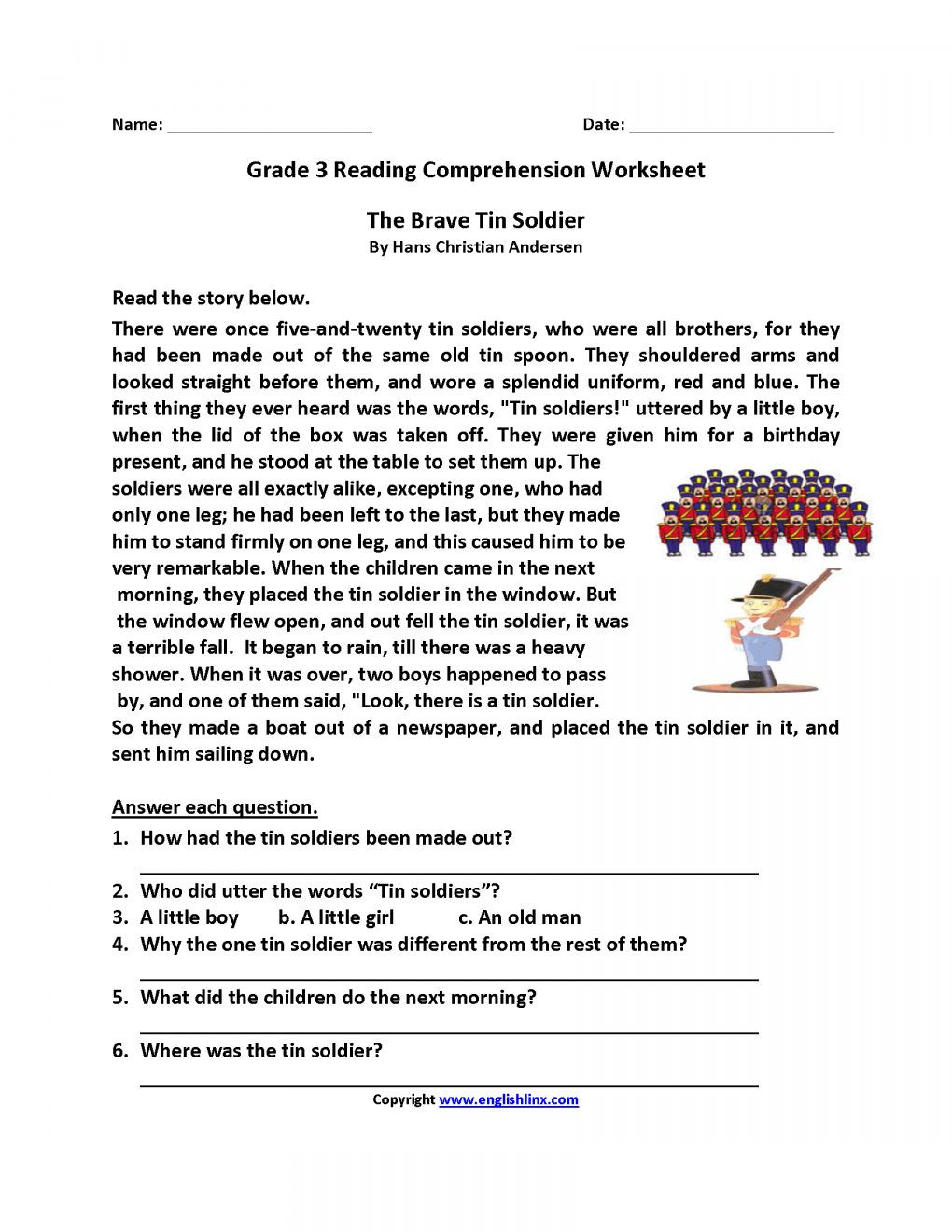 Reading Worksheets Grade 5 5th Grade Reading Worksheets with Answer Key