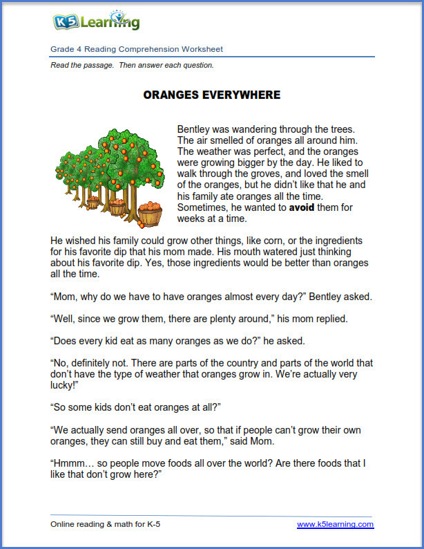 new reading prehension worksheets grades 4 and 5