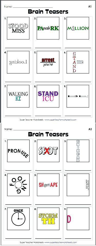 Rebus Brain Teasers Printable Brain Puzzles Printable Rebus Puzzles with Answers Printable
