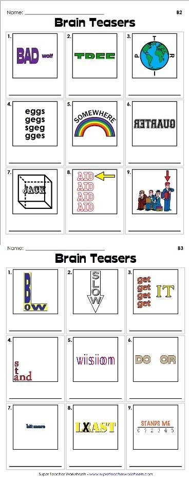 Rebus Brain Teasers Printable Rebus Brain Teasers