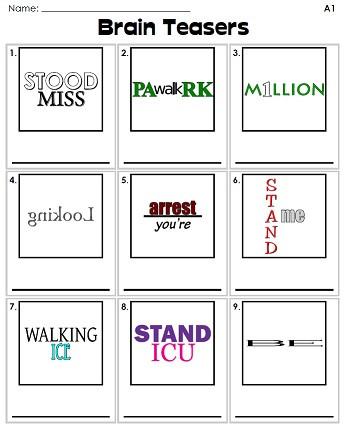 Rebus Brain Teasers Printable Rebus Puzzles