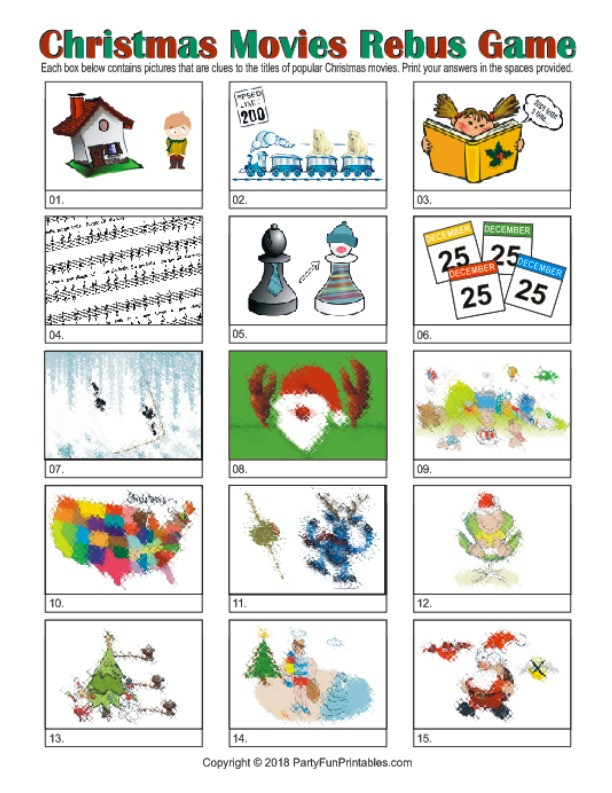 Rebus Puzzles for Adults Printable Printable Christmas Rebus Game Christmas Movie Picture Puzzles