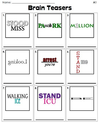 Rebus Puzzles for Adults Printable Rebus Puzzles