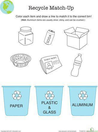 Recycle Worksheets for Kindergarten Recycle Worksheet