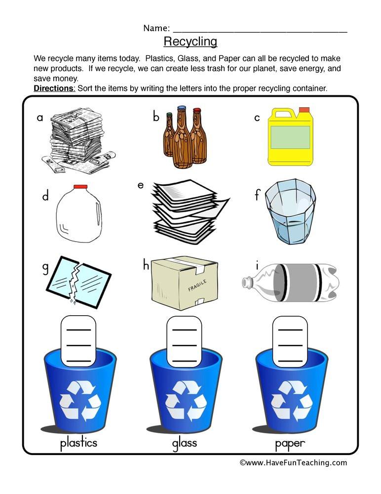 Recycle Worksheets for Kindergarten Recycling sort Worksheet