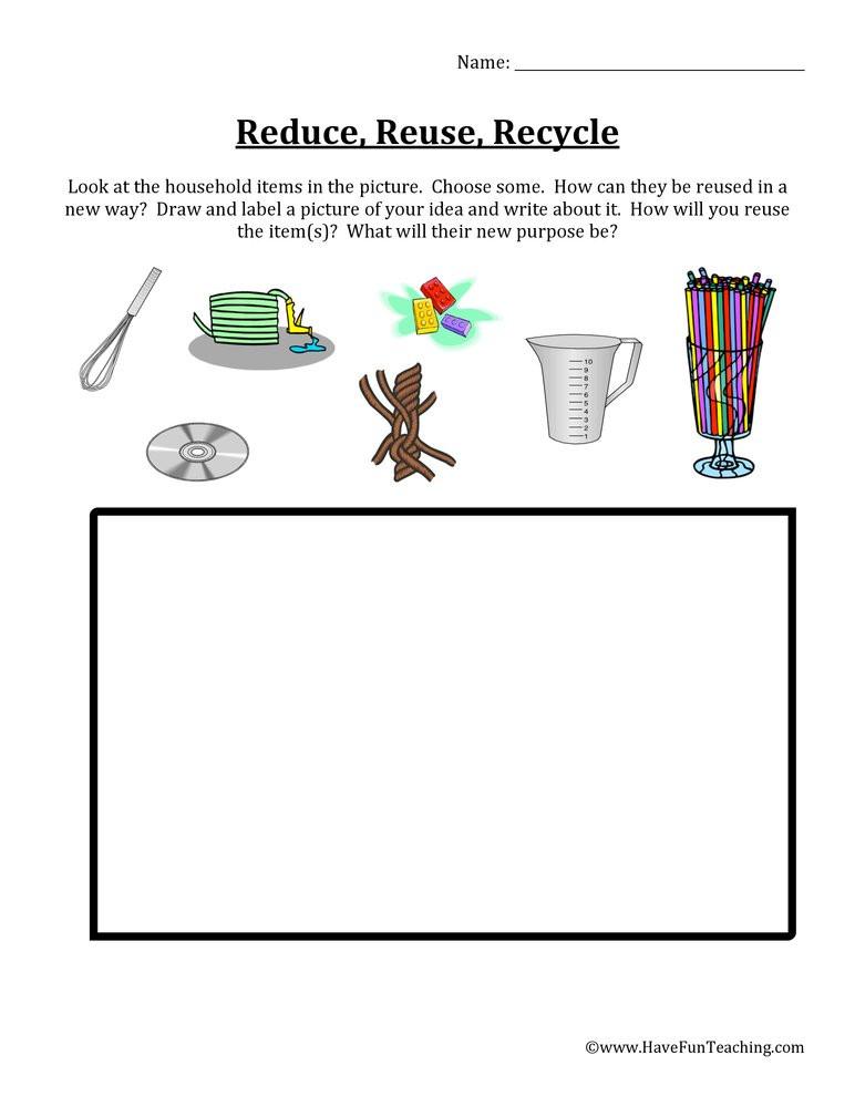 Recycle Worksheets for Kindergarten Reduce Reuse Recycle Items Worksheet