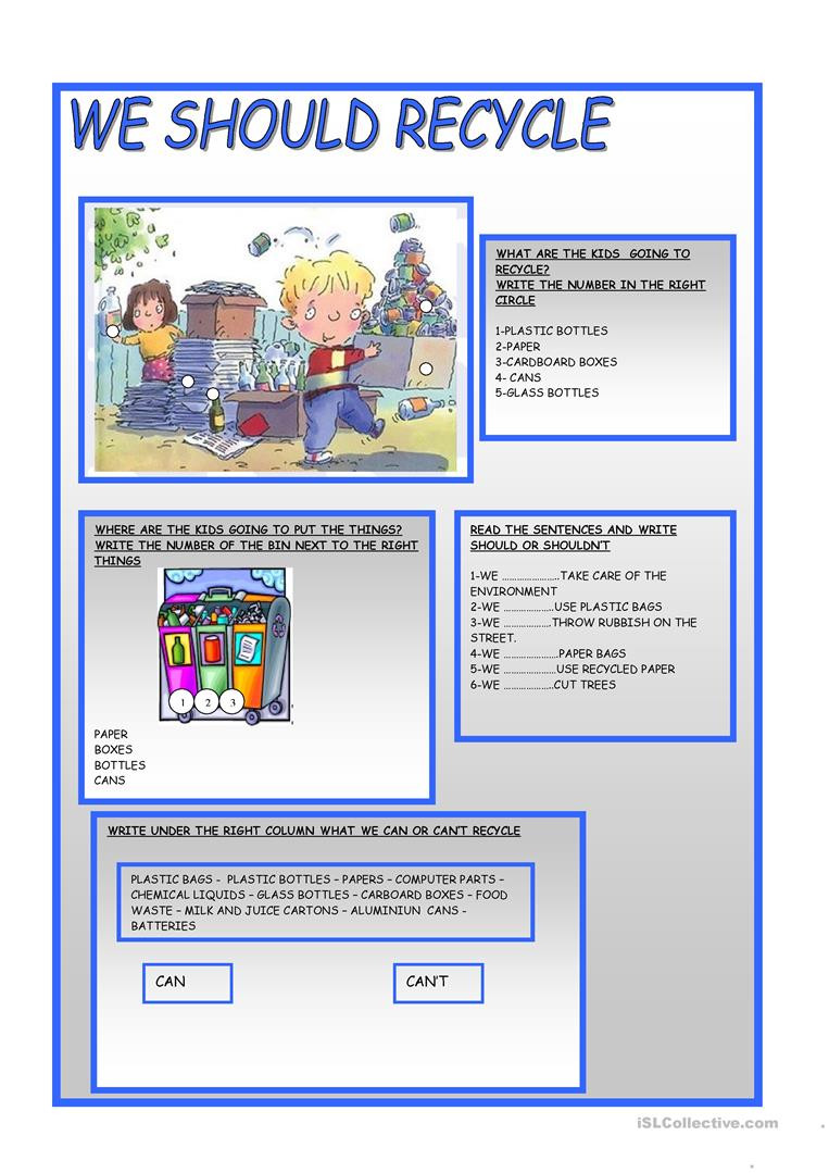 Recycling Worksheets for Kindergarten We Should Recycle English Esl Worksheets for Distance