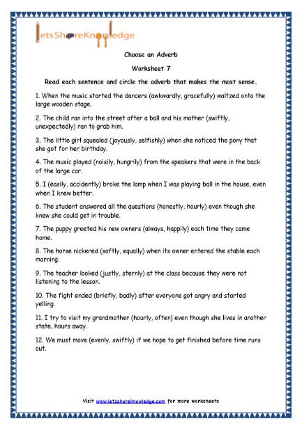 Relative Adverbs Worksheet 4th Grade Grade 4 English Resources Printable Worksheets topic