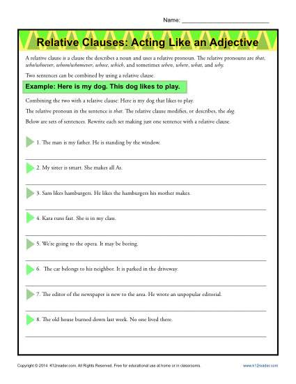 Relative Adverbs Worksheet 4th Grade Relative Clauses Acting Like An Adjective