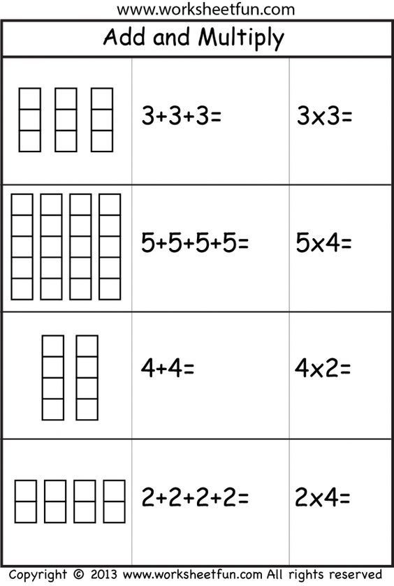 Repeated Addition Worksheets 2nd Grade Add and Multiply Repeated Addition 2 Worksheets More