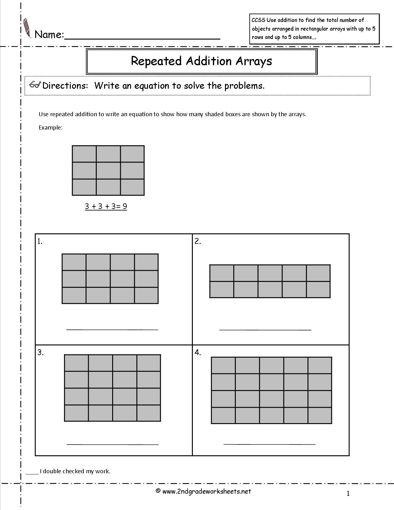 Repeated Addition Worksheets 2nd Grade Ccss 2 Oa 4 Worksheets