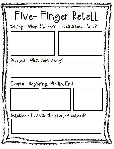 Retell Worksheet First Grade Five Finger Retell Poster Worksheet