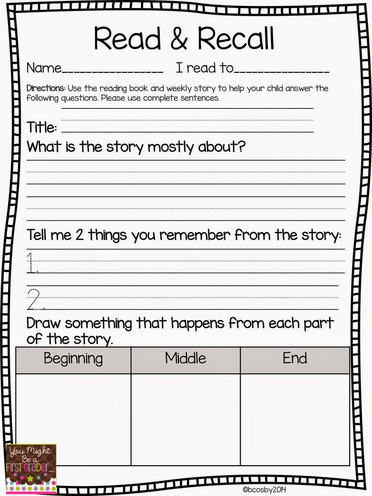 Retell Worksheet First Grade Reading Lessons Tes Teach
