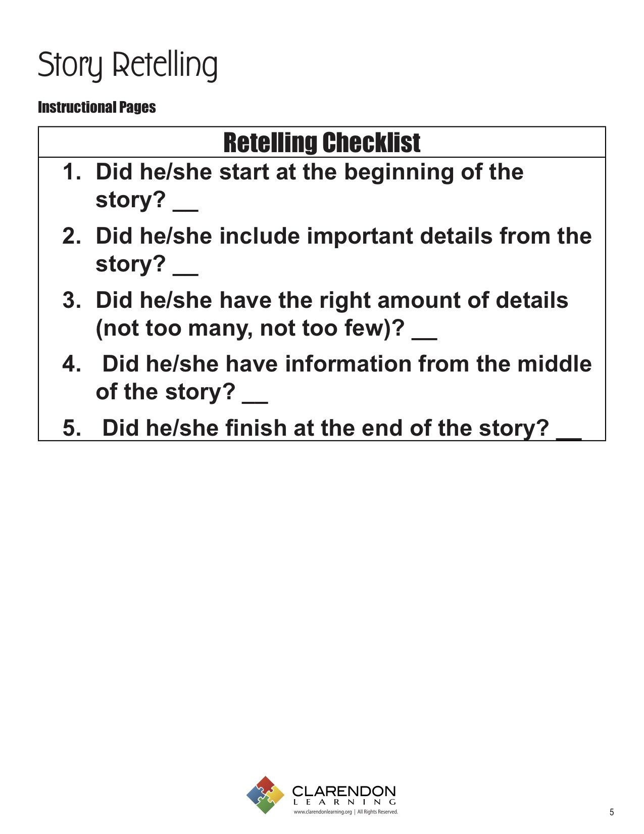 Retell Worksheet First Grade Story Retelling