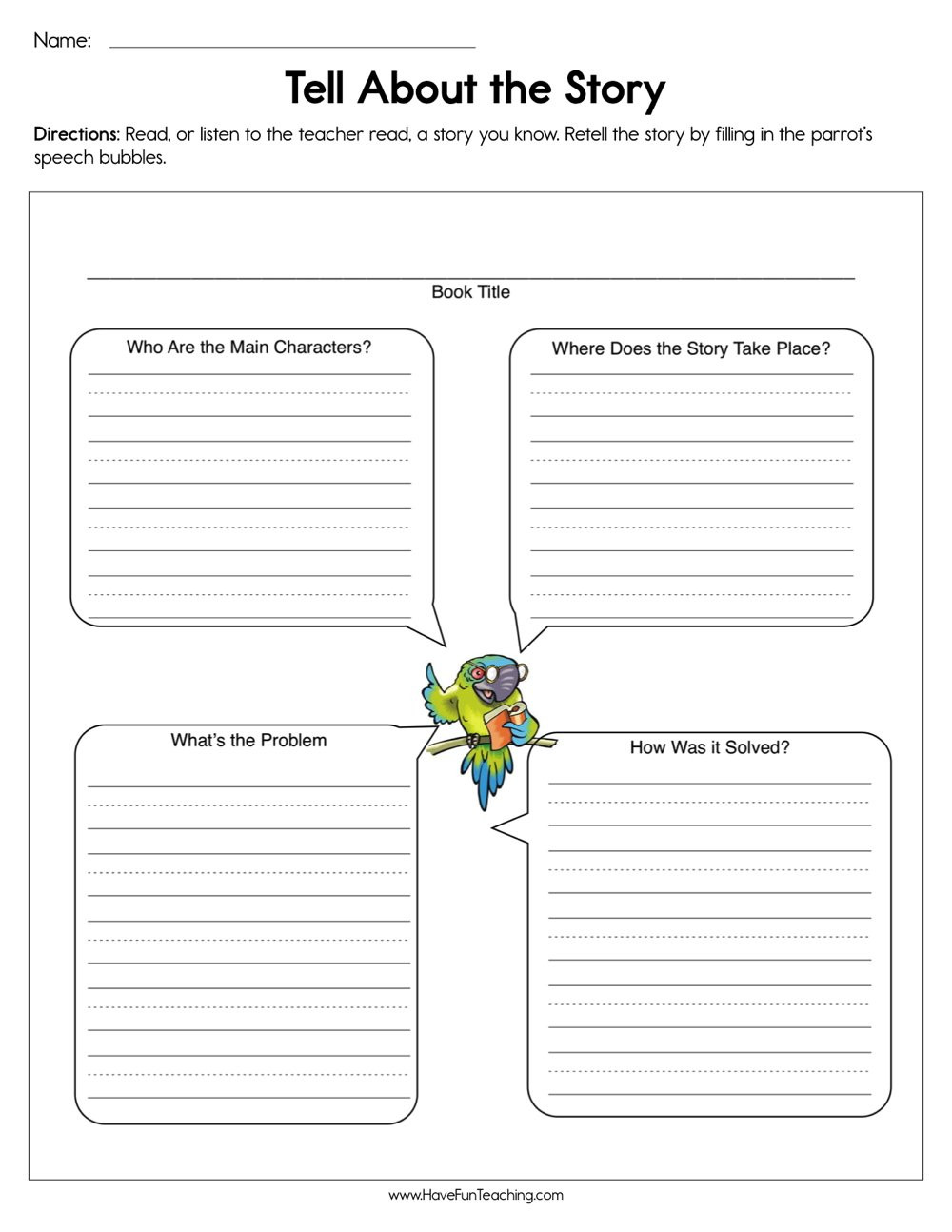 Retell Worksheet First Grade Tell About the Story Worksheet
