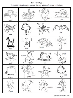 Rhyming Worksheets for Preschool Free First Grade Rhyming Worksheet