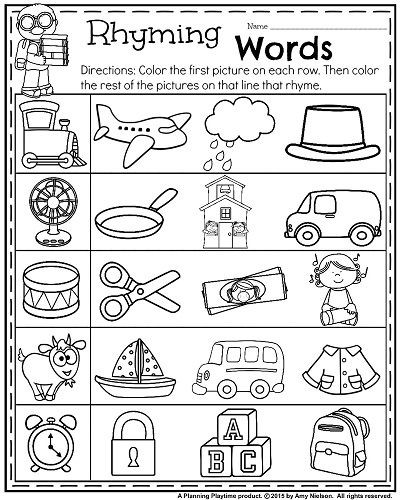 Rhyming Worksheets for Preschoolers Back to School Kindergarten Worksheets