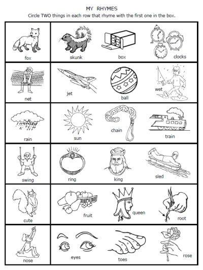 Rhyming Worksheets for Preschoolers Free Printable Rhymes Rhyming Words Worksheets for Preschool