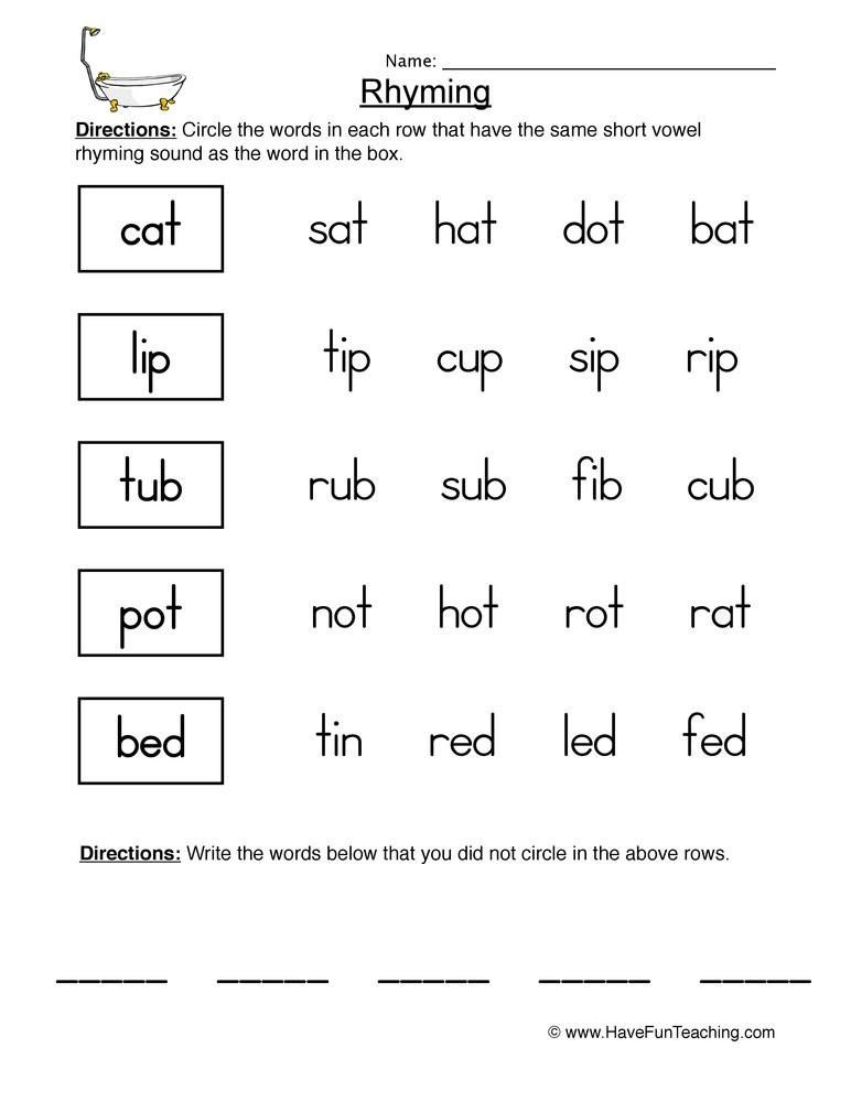 Rhyming Worksheets for Preschoolers Locating Rhyming Pairs Worksheet