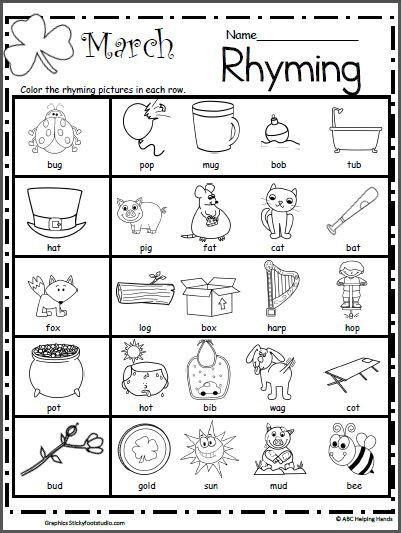 Rhyming Worksheets for Preschoolers March Rhyming Worksheet
