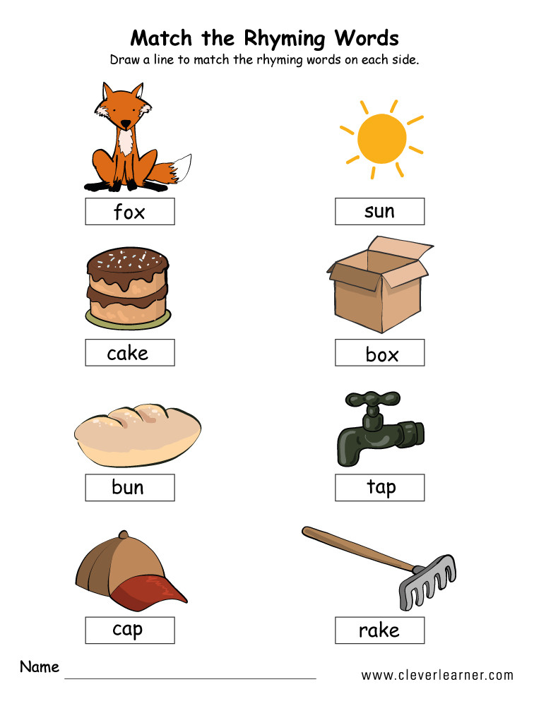 Rhyming Worksheets for Preschoolers Rhyme Words Matching Worksheets for Kindergarten and