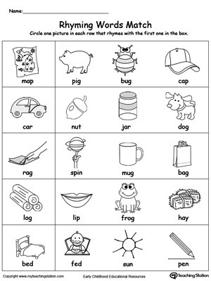 Rhyming Worksheets for Preschoolers Rhyming Words Match