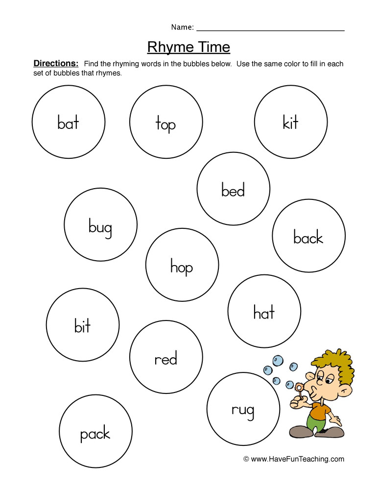 Rhyming Worksheets for Preschoolers Rhyming Words Pairs Worksheet