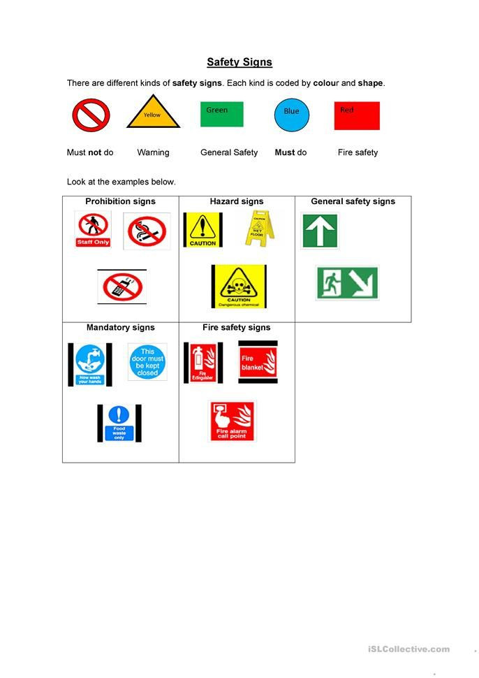 Safety Signs Worksheets for Kindergarten All Worksheets Safety Signs Worksheets 33 Free Esl Safety