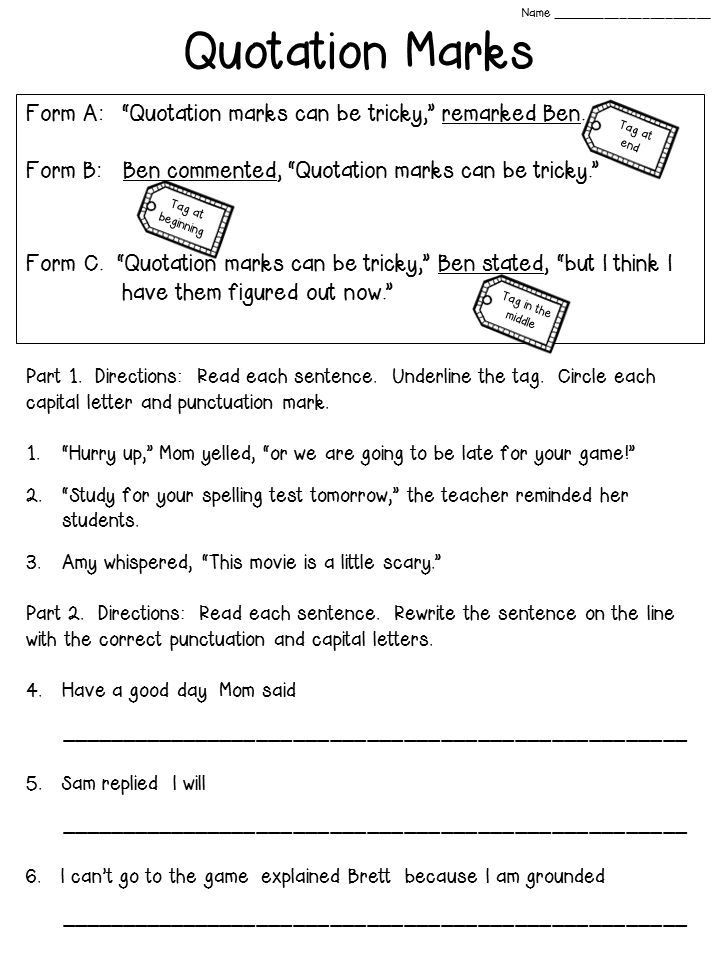 Saxon Math First Grade Worksheets Quotation Marks Anchor Chart with Freebie Writing Prompts