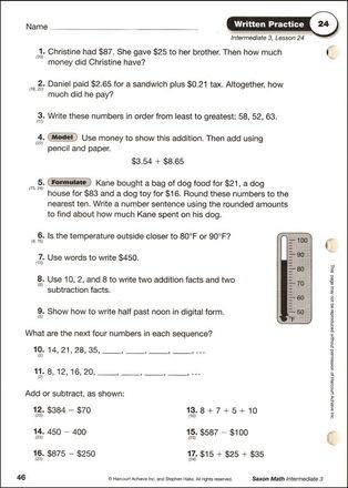 Saxon Math Grade 3 Worksheets Saxon Math Grade 3 Intermediate Written Practice Workbook