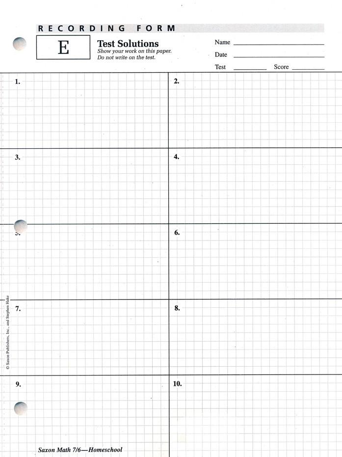 Saxon Math Worksheets 4th Grade Saxon Math 7 6 4th Edition Tests and Work Sheets