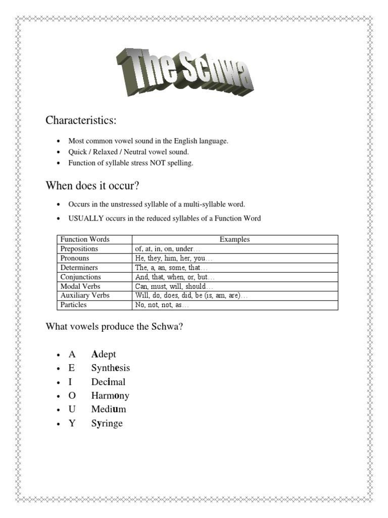 Schwa sound Worksheets Grade 2 the Schwa Vowel