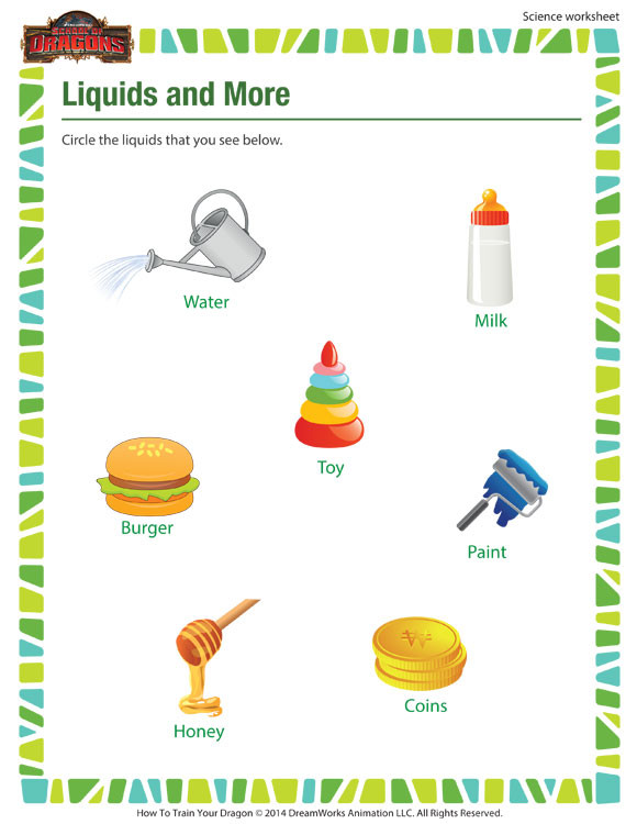 Science Worksheet First Grade Liquids & More Worksheet 1st Grade Science Worksheet sod