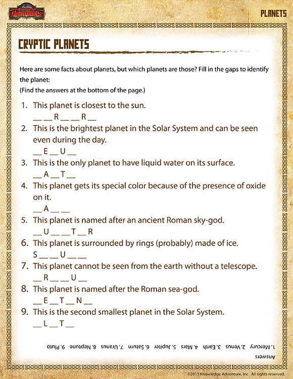Science Worksheets for 5th Grade Cryptic Planets View – 5th Grade Science Printables Line