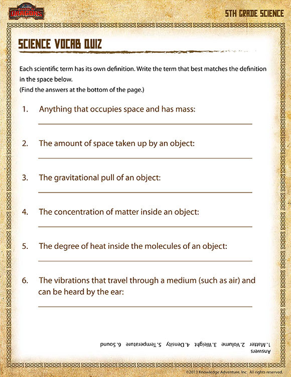 Science Worksheets for 5th Grade Science Vocab Quiz View – 5th Grade Science Printables Line