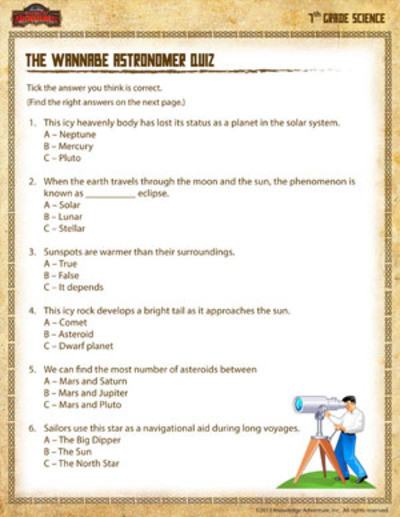 Science Worksheets for 7th Grade the Wannabe astronomer Quiz Printable 7th Grade Science