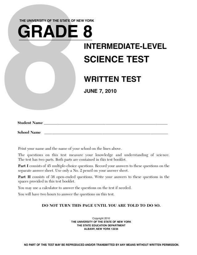 Science Worksheets for 8th Grade Grade 8 Science Test New York State University Worksheet