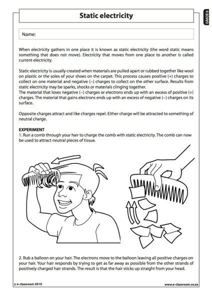 Science Worksheets for 8th Grade Static Electricity Natural Science Worksheet Grade Third
