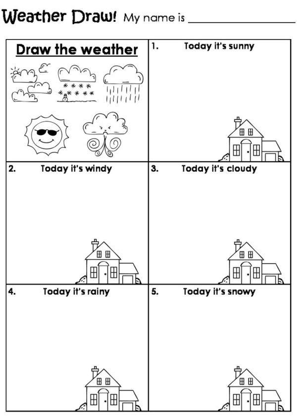 Seasons Worksheets for Kindergarten Draw the Weather Worksheet by Beverley … มีรูปภาพ