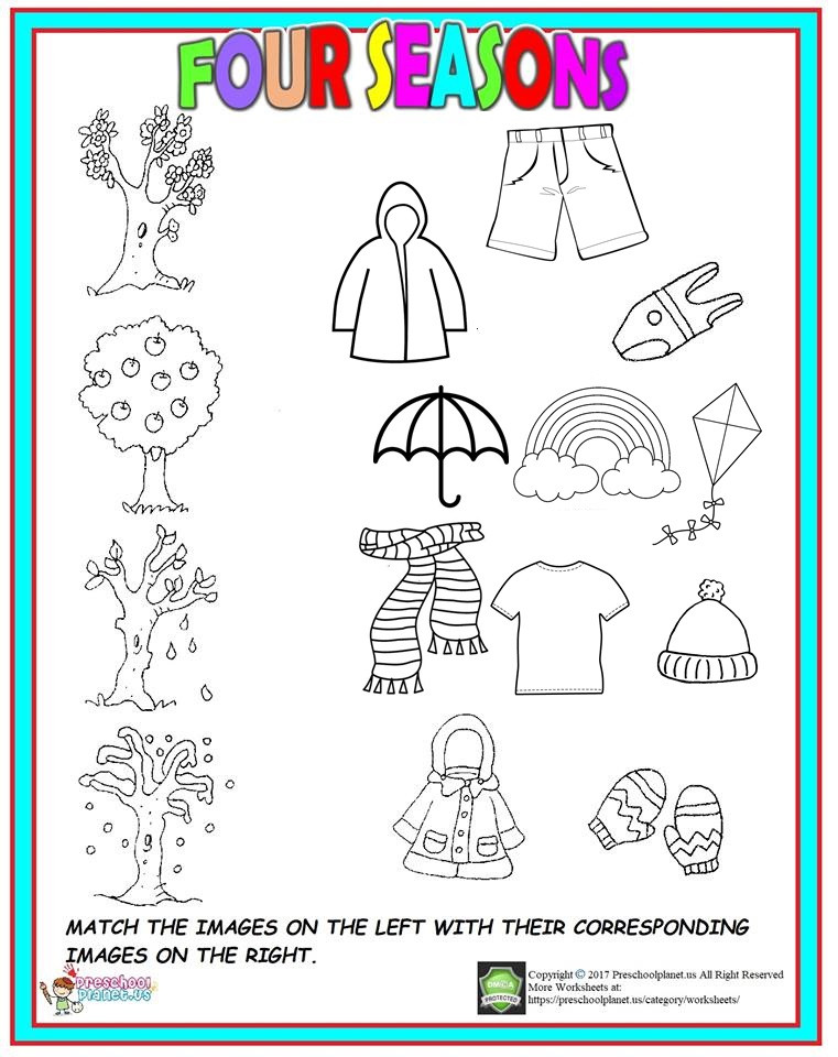 Seasons Worksheets for Kindergarten Four Season Worksheet for Kids – Preschoolplanet