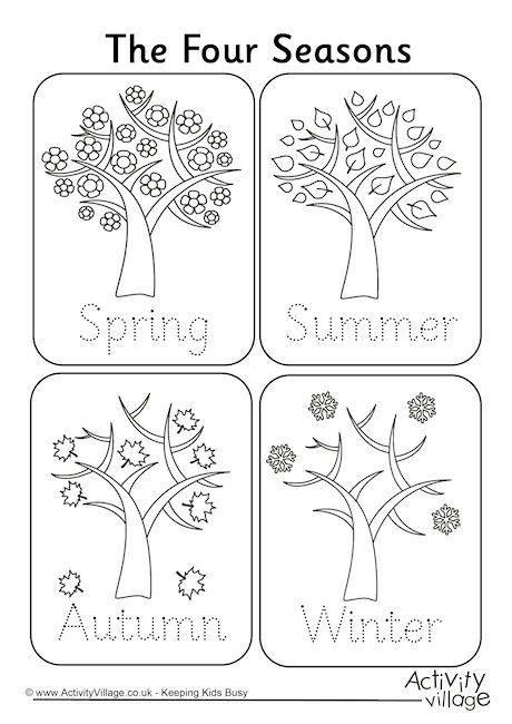 Seasons Worksheets for Kindergarten Four Seasons Handwriting Worksheet