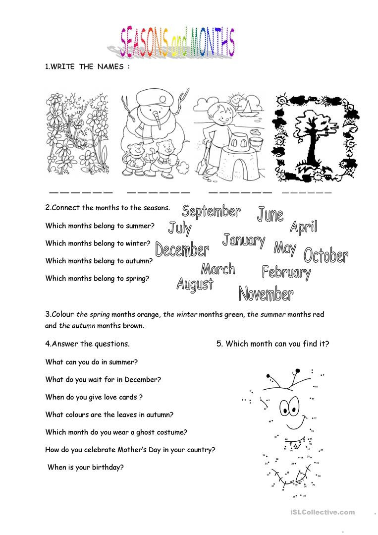 Seasons Worksheets for Kindergarten Months and Seasons English Esl Worksheets for Distance