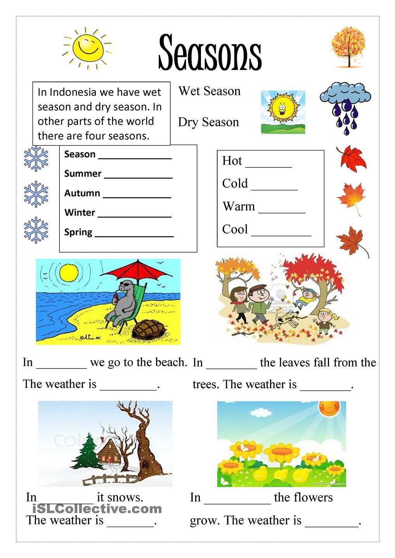 Seasons Worksheets for Kindergarten Season English Pinterest Worksheets and Lessons Kindergarten