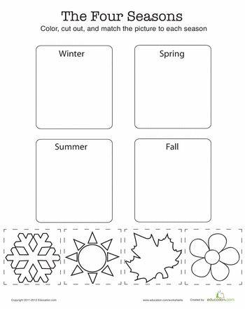 Seasons Worksheets for Kindergarten Seasons Worksheet