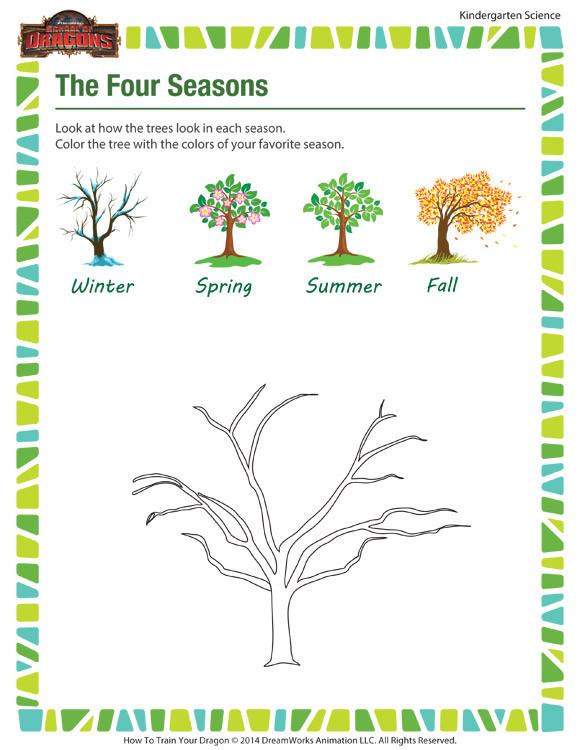Seasons Worksheets for Kindergarten the Four Seasons Kindergarten Science Worksheets sod