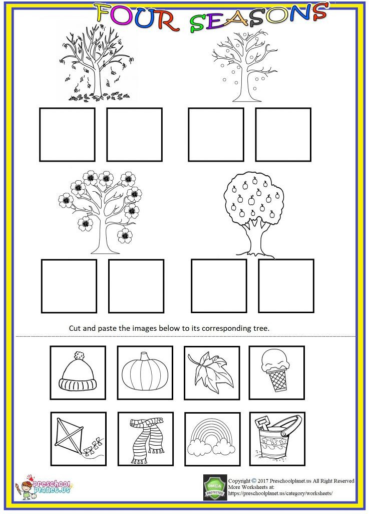 Seasons Worksheets for Preschoolers Four Seasons Cut and Paste Worksheet We Prepared Seas Flickr