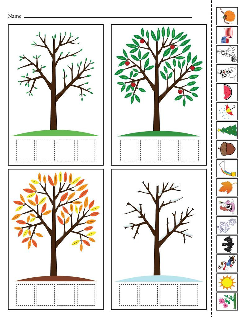 "Seasons Worksheets for Preschoolers ""season Match Up"" Printable 4 Seasons Matching Worksheet"