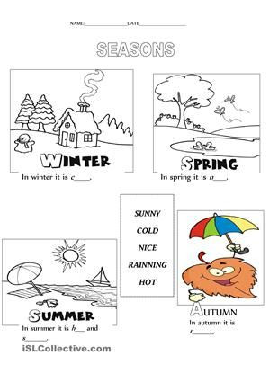 Seasons Worksheets for Preschoolers Seasons Weather