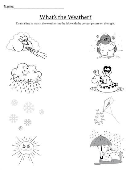 "Seasons Worksheets for Preschoolers What S the Weather "" Printable Matching Worksheet"