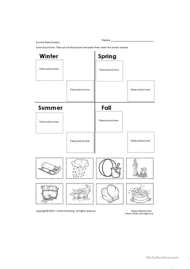 Seasons Worksheets Kindergarten Cut and Paste Seasons English Esl Worksheets for Distance